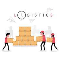 logistische Geschäftsleute, die im Lager mit Kisten arbeiten