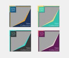 uppsättning färgglada vinklade mallar för sociala medier