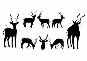 Gratis Kudu Silhouette Icon Set vektor