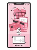 rosa Telefonbildschirm mit Warenkorb und Kreditkarte