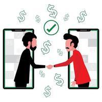 två män i telefoner skakar hand efter att ha kommit överens om partnerskap vektor