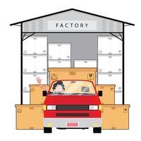 rött fordon framför fabriken med lådor