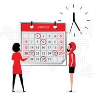 Leute, die über Arbeit diskutieren, während sie auf Kalender und Uhr schauen vektor