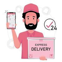 leverans man hålla låda och smartphone vektor