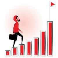 Mann mit Kapuze, der Grafik zum Erfolg hinaufgeht vektor