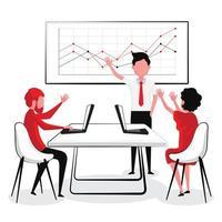 Geschäftsleute, die Hände heben, die über Grafik sprechen vektor
