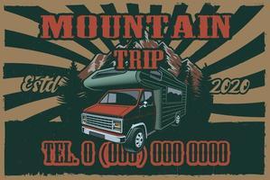 vintage affisch med rv och road trip tema vektor