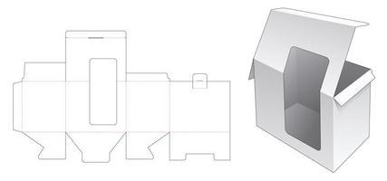 förpackningslåda med topp- och bakfönster vektor