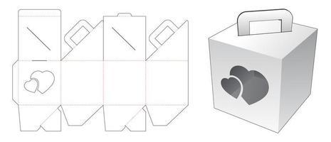 håller kartongen med hjärtfönstret vektor