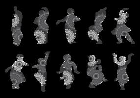 Silhouetten von Bollywood-Tänzern vektor