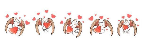 5 olika bedårande cupidkatter vektor