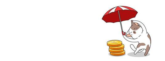 söt katt med paraply över myntbunten vektor