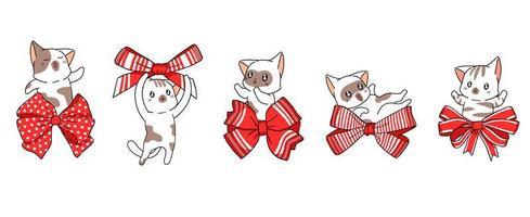 5 katter i röda rosetter vektor
