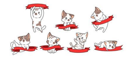 7 kawaiikatter med röda banners vektor