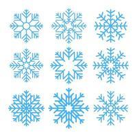 Schneeflocken isoliert auf weiß vektor