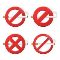 ingen rökning teckenuppsättning vektor
