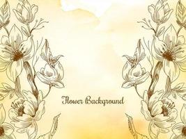 Hand gezeichnete Blume Pastell gelb Aquarell Design vektor