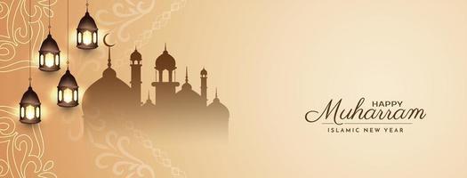 mjuk brun glad muharram banner design vektor