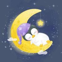 söt pingvin som sover på månen i akvarellstil
