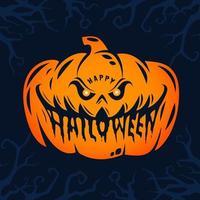 Happy Halloween Kürbiskopf Design vektor