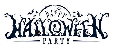 glücklicher Halloween-Partyfriedhofstext vektor