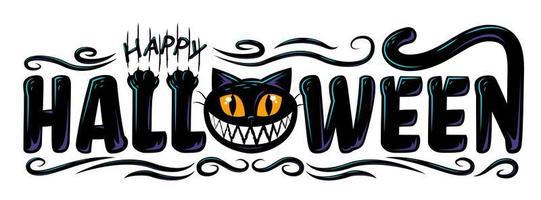schwarze Katze glücklich Halloween-Text