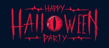 glad halloween party text design med onda ögon vektor