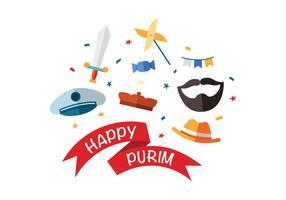 Glückliche Purim Vektor Icons