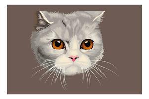 Cartoon Kopf Katze Handzeichnung