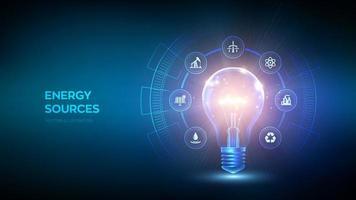 glödande glödlampa med energiresurser koncept vektor