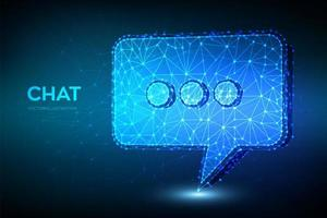 Niedriges polygonales Chat-Symbolkonzept 3d