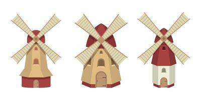 Windmühle isoliert auf weiß vektor