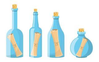 Nachricht in der Flasche scrollen vektor