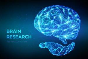 niedriges polygonales abstraktes Design der Gehirnforschung 3d vektor