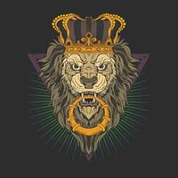 lejonhuvud med krona vektor