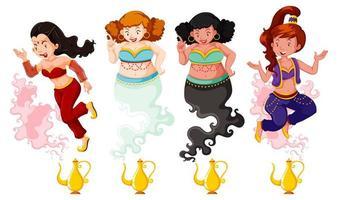 olika av genie girl magisk lykta