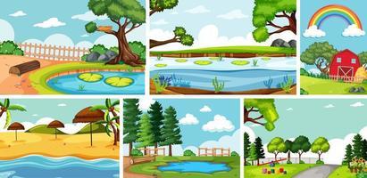 sex naturscener med olika platser vektor