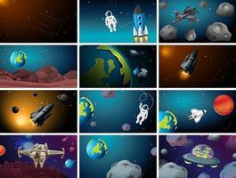 große Reihe von Weltraumszenen vektor