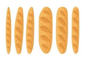 uppsättning färskt bröd vektor