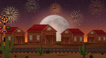 Feier Feuerwerk mit Landschaft vektor