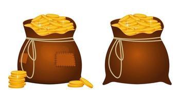 große Taschen mit goldenen Münzen gefüllt vektor