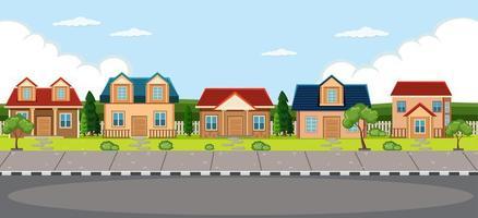 einfacher Dorfhaushintergrund vektor