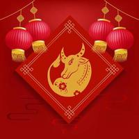 Stier mit Laternen. chinesisches Neujahr 2021, das Jahr des Ochsen