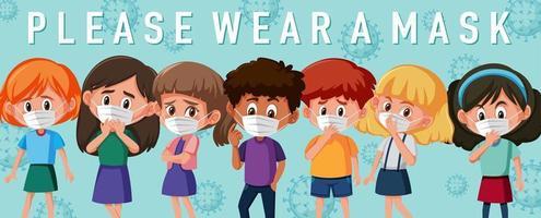 Kinder tragen Maskenschablone