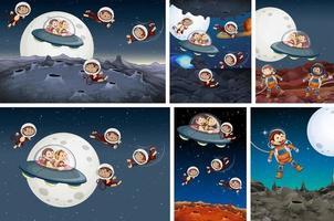 uppsättning apa som utforskar rymden