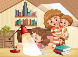 Mutter und Kinder bleiben zu Hause