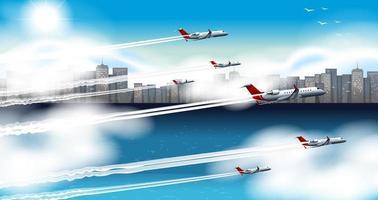 många flygplan som flyger i himlen vektor
