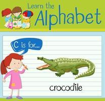 Karteikarte Buchstabe c ist für Krokodil vektor