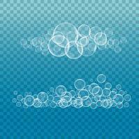 klares, transparentes Wasserblasenset vektor