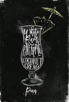 Pina Colada Cocktail Kreide Farbplakat